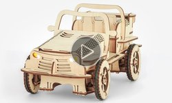 Wooden Construction Kit Bluetooth Controlled EcoBot Buggy Video Review