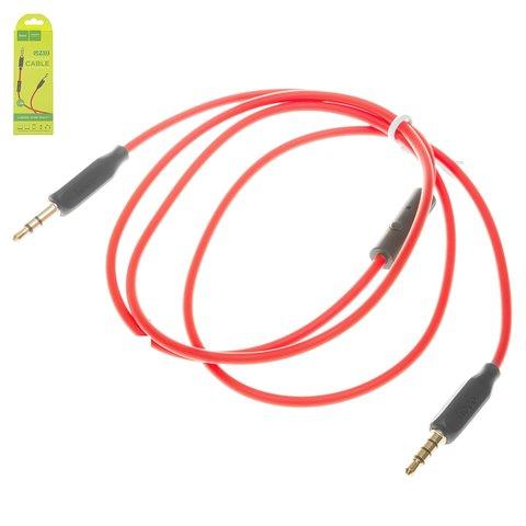 AUX кабель Hoco UPA12, TRS 3.5 мм, TRRS 3.5 мм, 100 см, червоний, силіконовий, з мікрофоном