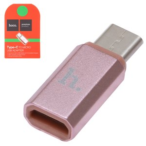 Micro-USB To USB Type-C Adapter Hoco, (pink)